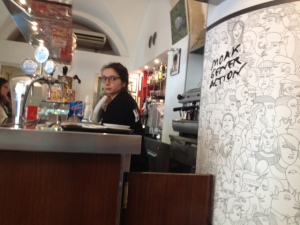 Café with anti Mafia sign on the wall - the locals linking up to challenge their influence